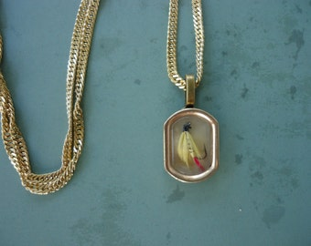 """Fishing Fly Up-Cycled Necklace  - 20"""" 18KT GP Chain"""
