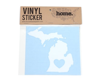 Michigan Heart Decal Car or Laptop Sticker by Home State Apparel