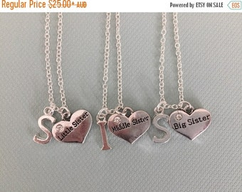 SALE 3 Three Sister Necklaces, Little Sister, Middle Sister, Big Sister, Sibling, Bridesmaid Gift, Personalisation, Custom, Initial