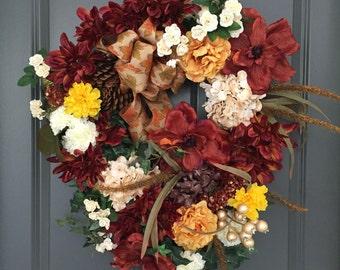 Fall Wreath, Front Door Wreath, Fall Decor, Autumn Wreath, Fall Front Door Wreath, Thanksgiving Wreath, Wreaths, Autumn Wreaths