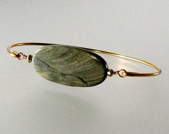 Jasper Silver Mist Gold Bangle Bracelet, Boho Chic Bangle Bracelet, Gemstone Bracelet, Bohemian Bracelet, Bohemian Jewelry (Gm271G)