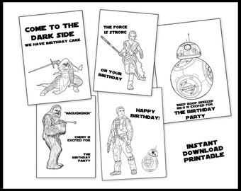 Star Wars New Episode 7 Coloring Book for Birthday Gift or Party Favors - Printable Instant Download - BB8 Chewbacca Kylo Ren Rey