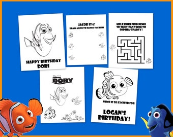 Finding Dory Nemo Personalized Coloring Book - Great as Party Favors Decorations or Gifts - Emailed as PDF Download Printable