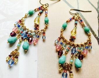 Handmade Peruvian Beaded Chandelier  Earrings