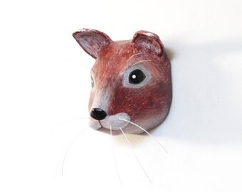 Squirrel - Paper mache animal wall decoration