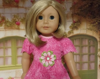 "Pretty in Pink  Dress--for 18"" Dolls--Shown on my American Girl Doll Kit"