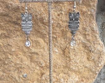 Owl Charm Dangle Earrings