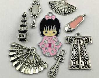 7  japaneese geisha charms collection antique silver # ENS A 274