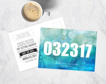 Watercolor Wedding Save the Date Postcard - Custom - Printable + Printed Card Options