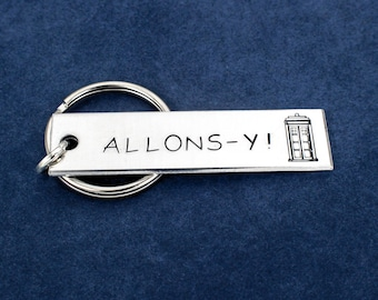 SALE -  Doctor Who - Allons-y - Tardis - Aluminum Key Chain