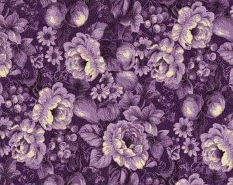 Purple Floral Fabric by the Yard, Cotton, Quilt, Flower, Rose, Purple, Garden, Cream, Girly, Nursery, Blender, Decor, Craft, Berries, Fruit