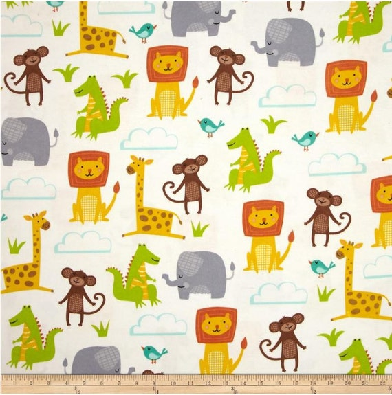 Zoo animal flannel fabric by the yard jungle quilt for Childrens jungle fabric