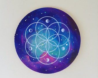 Galaxy Painting with Sacred Geometry Seed of Life Silkscreen 5/5