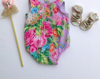Lilac Floral Delight Pleatie Romper Playsuit