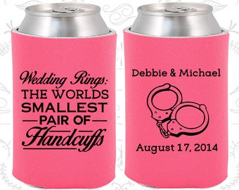 Wedding Rings, The Worlds Smallest Pair of Handcuffs, Wedding Party Gifts, Handcuffs, Wedding Can Coolers (503)