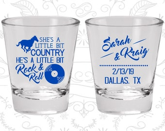 She's a Little Bit of Country, He's a little bit of Rock and Roll, Wedding Shot Glass, Rock and Roll Shot Glasses (468)