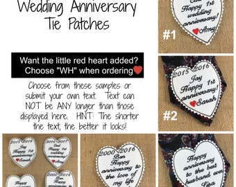 ANNIVERSARY GIFT for HIM - Tie Patch - Wedding Anniversary Gift, Iron-On Patch, Sew-On Patch, Tie Patch, Happy Anniversary, Anniversary