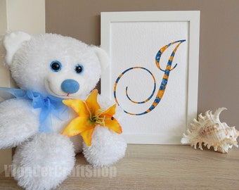 monogram wall art, wall initial, nursery art,letter j, personalized decor, decorative letter, blue yellow, paper decoration, baby art