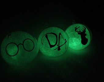 HP inspired ornaments (Glow in the Dark) 3pc. set - Stag - Glasses - Dumbledore Army - gift - Christmas decor - Christmas tree - Ornaments