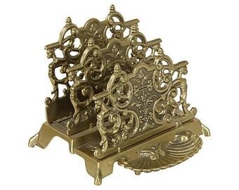 Solid Brass Ornate Desk Letter Sorter - Letter Holder