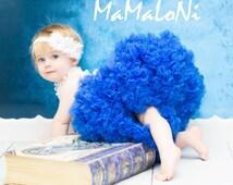 CLEARANCE!!! Baby Girl's ruffle PREMIUM Royal Blue pettiskirt tutu skirt dress petticoat twins photo prop Newborn size 6-12 6-9 12-24 months