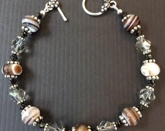 Agate & Swarovski Crystal Bracelet (B4)