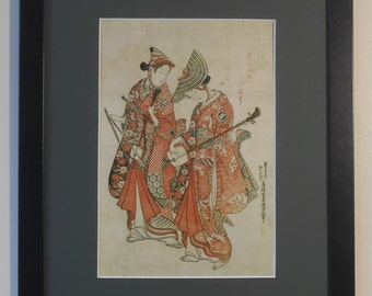 "Mounted and Framed - Actors and Lovers Print - Okumar Masanobu - 16"" x 12"" - Japanese Art"