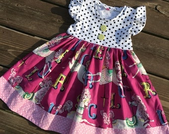 Boutique toddler dress - baby boutique dress - carousel dress - flutter sleeve dress - long sleeve dress - family picture dress -