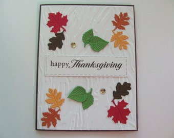 Thanksgiving Day Card, Embossed Tree Bark, Happy Thanksgiving Day Card ,Fall Greeting Card, Thanksgiving Card, Happy Thanksgiving Card, Fall