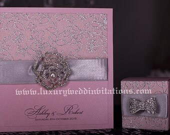 Pink Glitter Flourished Wedding Invitations With Embellishments, A Set Of 50
