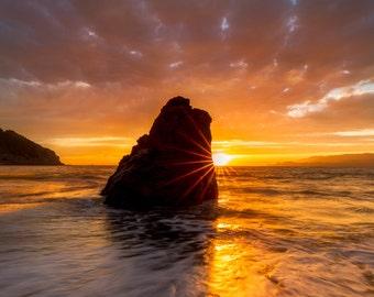 Beach Photo of California Coast - San Francisco Art - Sunset Photograph of the Pacific Ocean - Beautiful Sun Setting over California's Coast