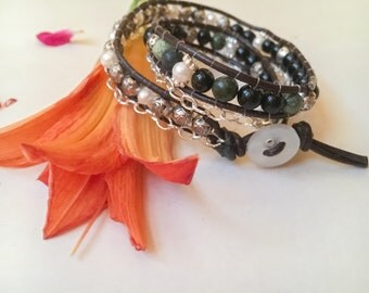 freshwater cultured pearl and black obsidian wrap bracelet, double leather wrap bracelet