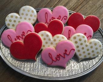 Jumbo Hearts ~ Valentines Day Special ~ 1 Dozen Custom Cookies ~ SHIPPED