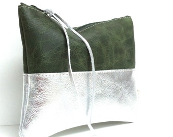 Leather case, leather cosmetic bag, green leather, silver leather, simple cosmetic bag