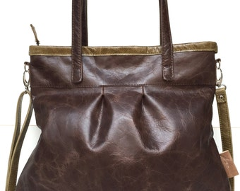 Leather tote bag,brown leather shopper,large leather bag,cross body bag