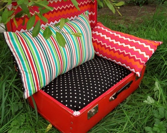 A quirky pet bed, made from a vintage 1960s suitcase.  Small dog bed.  Cat bed.   For pets with a taste for vintage...