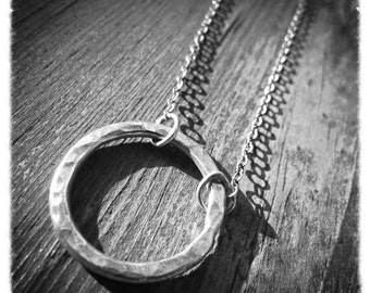 Hammered Silver Hoop Necklace, Small Silver Circle Necklace, Eternity Necklace