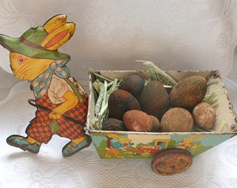 Vintage J Chein Tin Rabbit Pulling Wagon Toy, Easter Bunny With Wagon