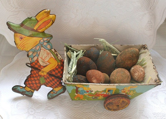 Vintage J Chein Tin Rabbit Pulling Wagon Toy Easter Bunny