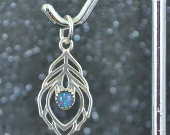 Sterling Silver Small Opal Triplet Peacock Feather Pendant. Genuine stone, nickel free and hypoallergenic.