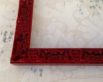 Boho - Shabby Chic Red Picture Frame -4x4, 4x6, 5x7, 8x8, 8x10, 8.5x11 Red Custom Photo Frame