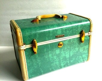 Mid-century Samsonite Green Marbled, Vintage Samsonite Train Case Make-Up Travel Suitcase, Seafoam Bemuda Green Marbled.