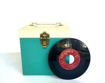 VIntage Metal 45 RPM Storage, Carry Case, Aqua and CreamColor 8 x 8