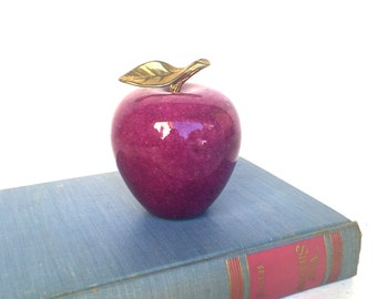 Mid-Century Purple Alabaster Apple, Brass Stem and Leaf