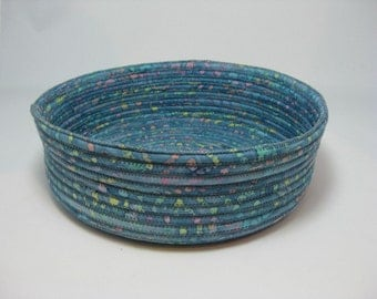 Blue Hand Coiled Fabric Bowl, Handmade Fabric Basket,