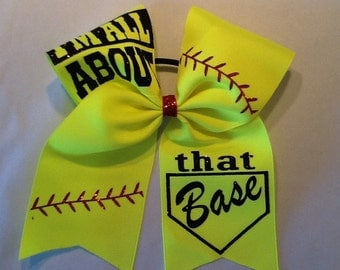 Softball Bow, All About That Base Bow, Yellow Cheer Bow, Team Softball Bow, Cheap Softball Bow, Cheer Bow, Softball Cheer Bow, Softball