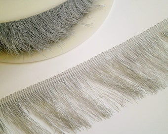 1 m Fringe silver  50 mm wide