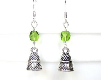 Custom birthstone earrings - Thimble earrings - Personalised birthday gift - Birthstone jewelry - Upgrade to Sterling silver - UK