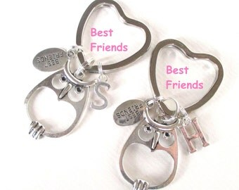 Best friends gift - Best friends Owl keychain set - Initial keyrings - Personalised best friends keyrings - Stocking stuffer - Etsy UK