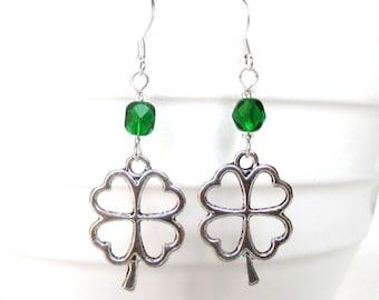 Lucky clover earrings - St. Patrick's Day earrings - Four leaf clover - Clover jewellery - Clover charm earrings - Good luck gift - UK